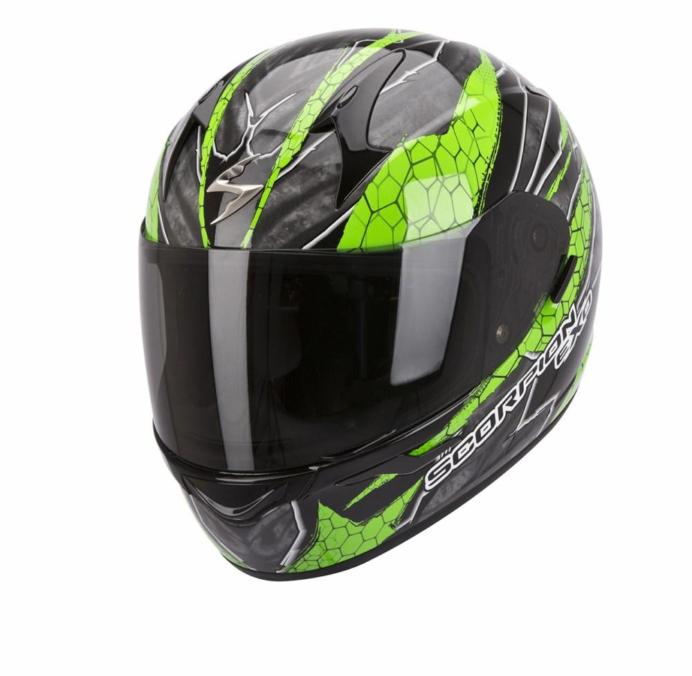 Scorpion Exo 410 Air Rad full face helmet black green