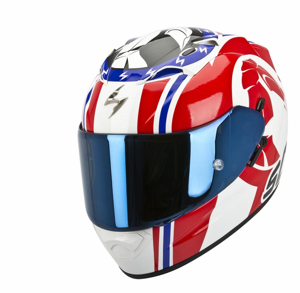 Scorpion Exo 1200 Air Stinger full face helmet white red blue