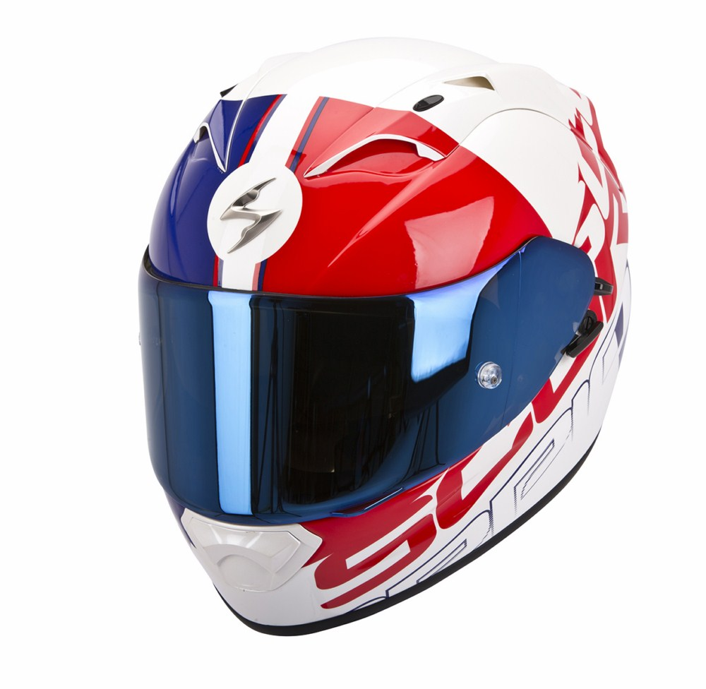 Scorpion Exo 1200 Air Quarterback full face helmet white red blu