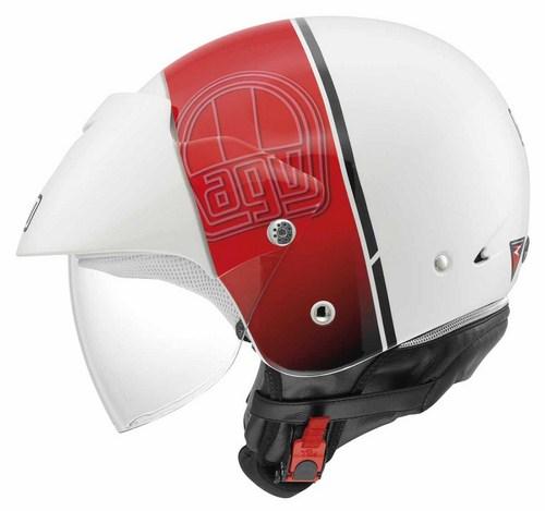 Agv Bali II Multi Stripe jet helmet white-red