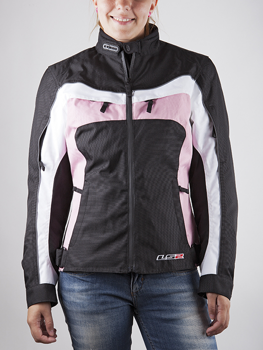 Motorcycle jacket woman LS2 Jade Black White Pink