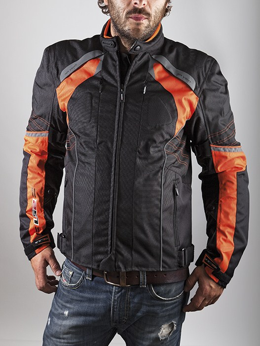 LS2 Motorcycle Jacket Orange Black Lagoon