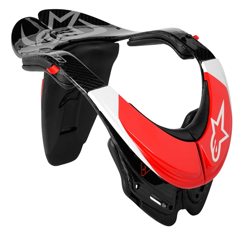 Supporto collo Alpinestars Bionic Carbon (BNS) nero-bianco-rosso