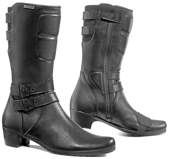 Woman leather motorcycle boots Black Falco Dyva