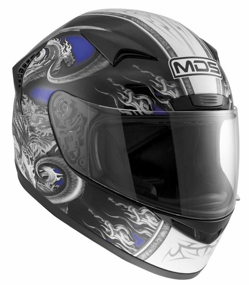 Casco moto MDS by Agv New Sprinter Multi Creature blu