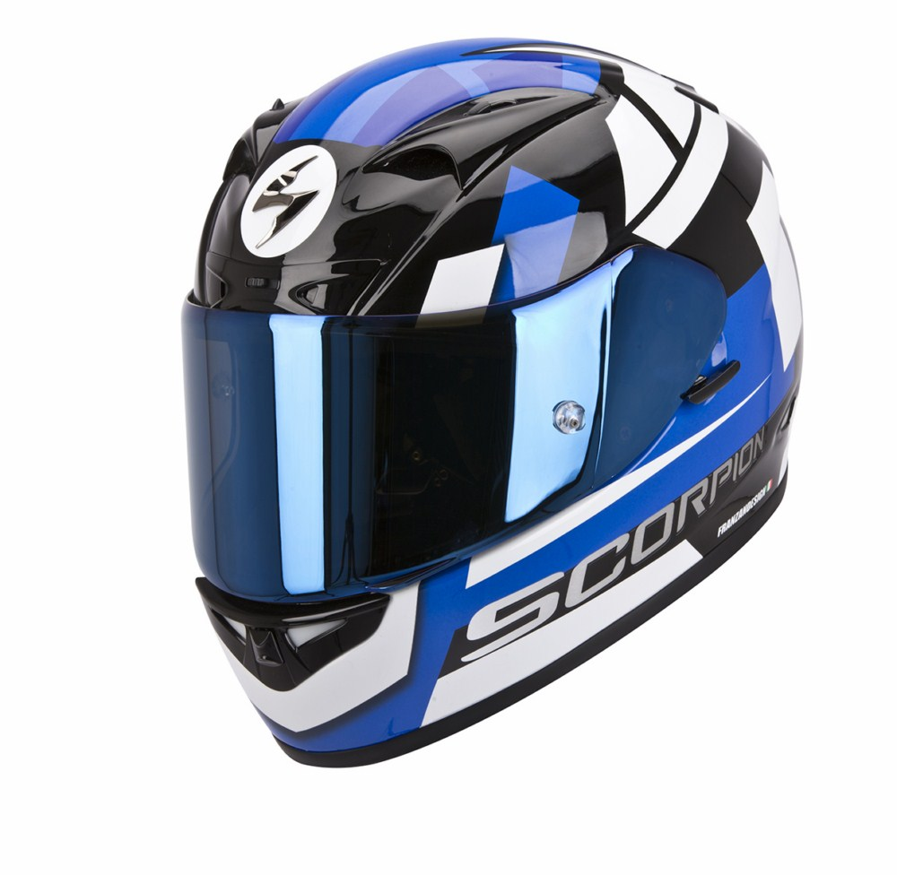 Scorpion Exo 710 Air Square full face helmet white blue