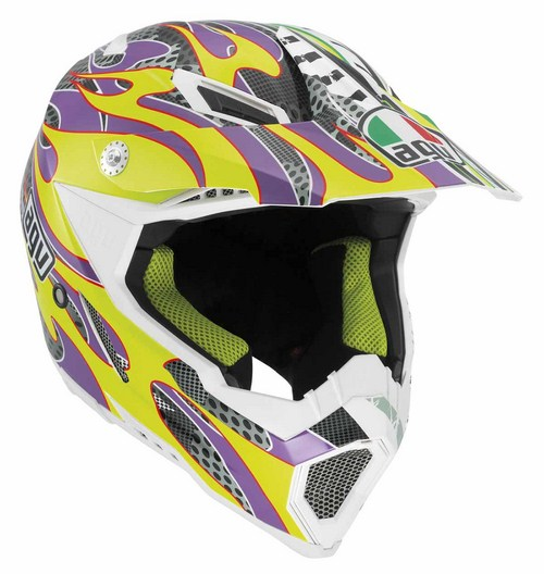 Agv AX-8 Evo Multi Flame off-road helmet yellow-violet