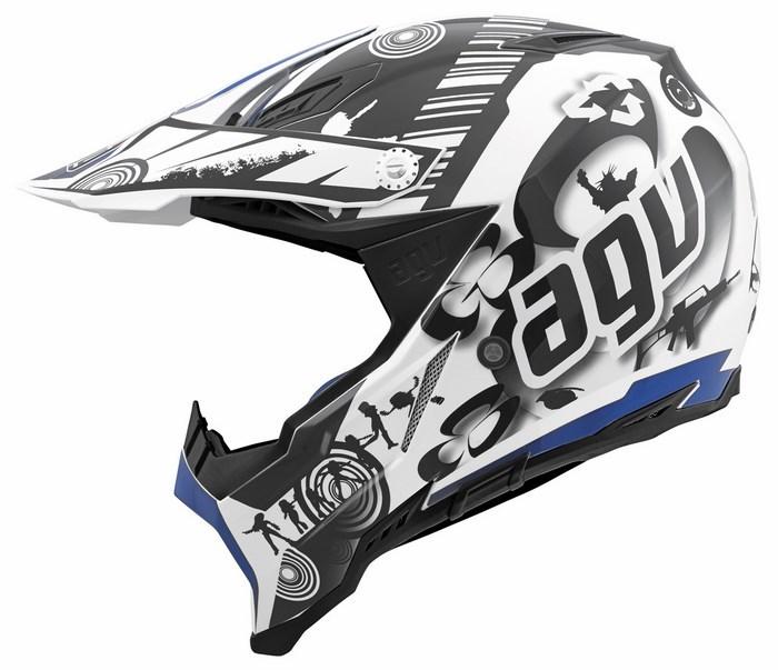 Agv AX-8 Evo Multi Cool  offroad helmet white black blue