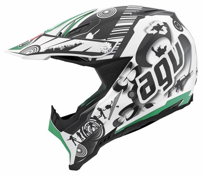 Agv AX-8 Evo Multi Cool  offroad helmet white black green