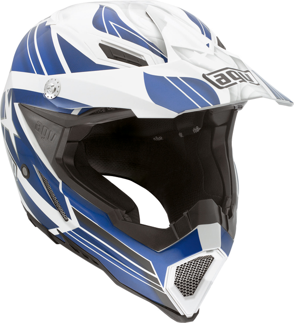 Agv AX-8 Evo Multi Flagstar off-road helmet white-blue