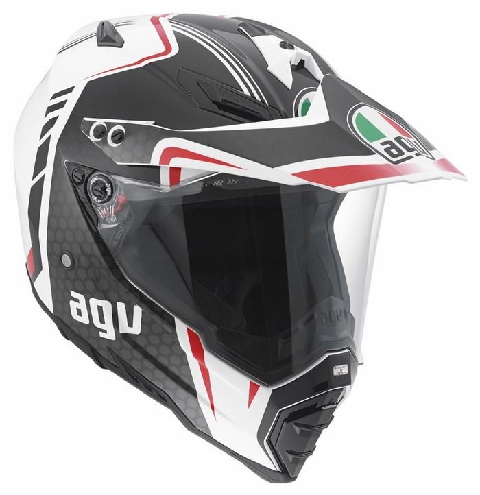 Agv AX-8 Dual Evo Multi GT offroad helmet white gunmetal red