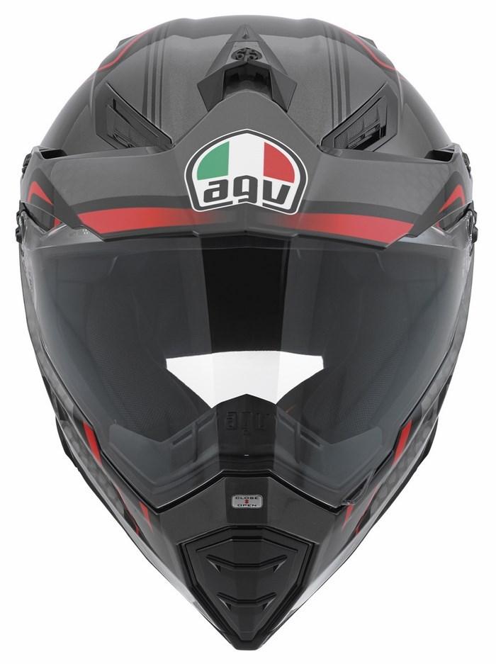 Casco moto off-road Agv AX-8 Dual Evo Multi GT nero silver rosso