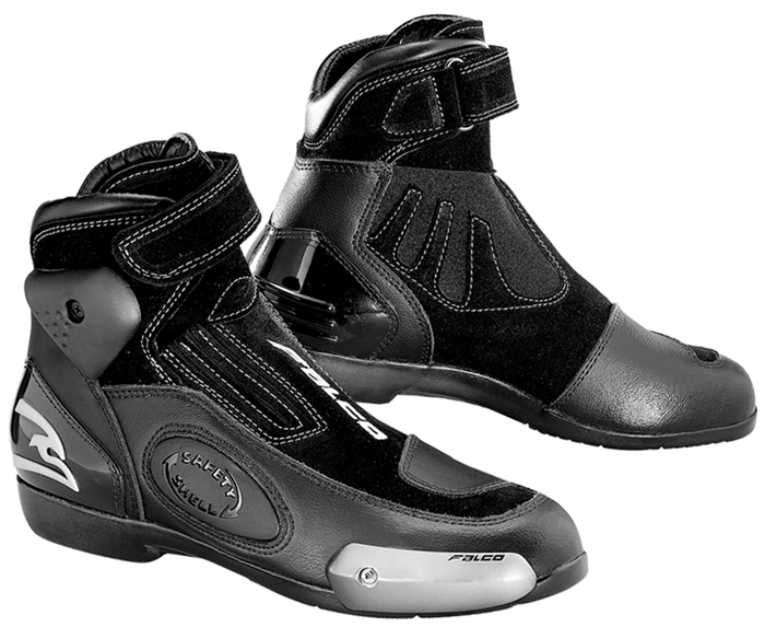 Motorcycle Leather Shoes Black Grey Falco Stroke
