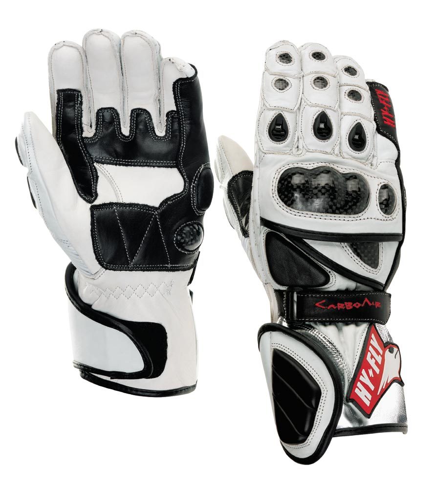 Hy Fly Carbo Air racing gloves White Black
