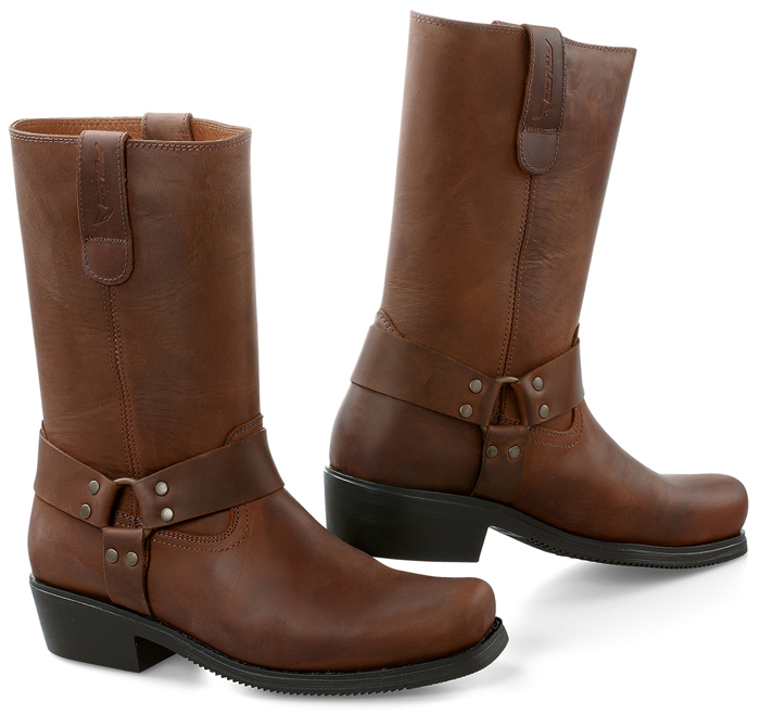 Brown Leather Biker Motorcycle Boots Falco