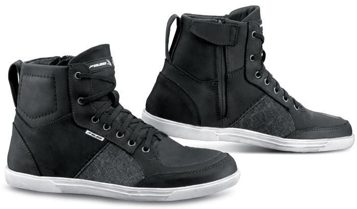Motorcycle Leather Shoes Black Falco Shiro