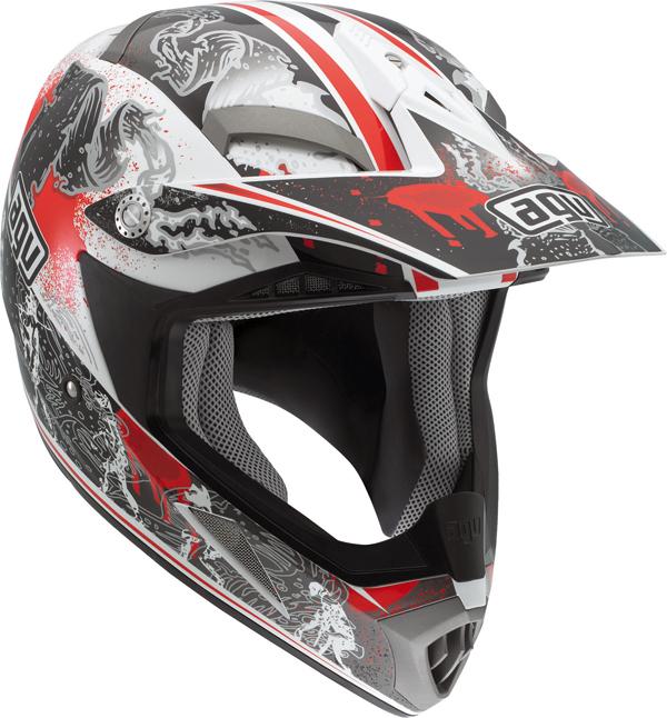 Casco moto Cross Agv  MT-X Multi Evolution bianco-rosso