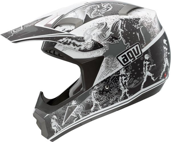 Casco moto Cross Agv  MT-X Multi Evolution bianco-argento