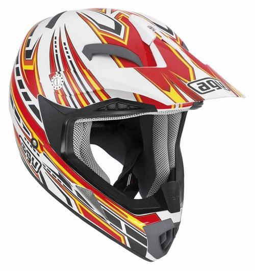 Casco moto cross Agv MT-X Multi Point bianco rosso giallo