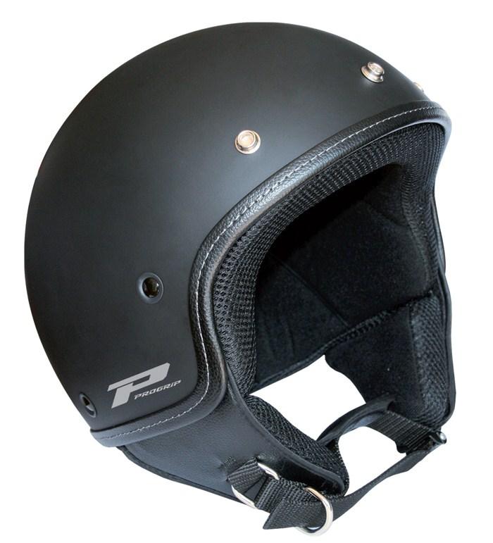 Jet Helmet Scooter Vintage Black Progrip