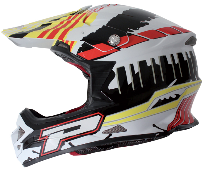 Casco cross Progrip Tricomposito Podium Fluo