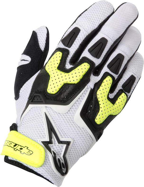 Summer Motorcycle Gloves Alpinestars SMX-3 Air white black yell