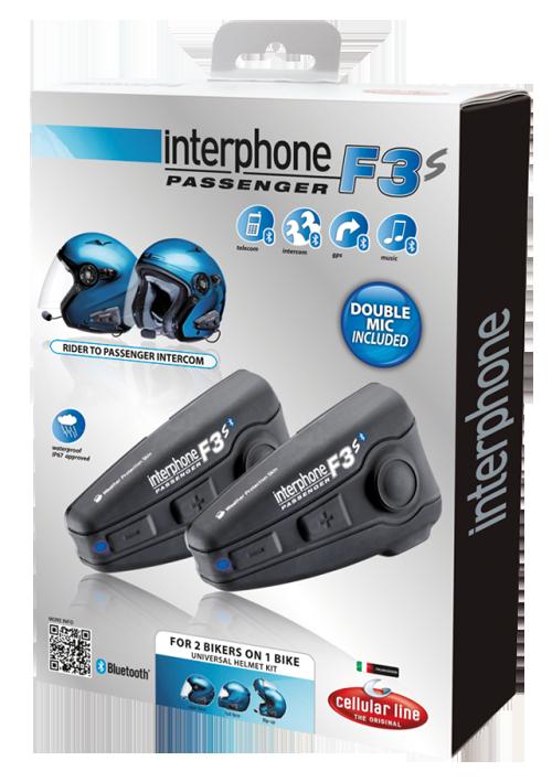 Interfono Cellular Line F3S Passenger Bluetooth univ due caschi
