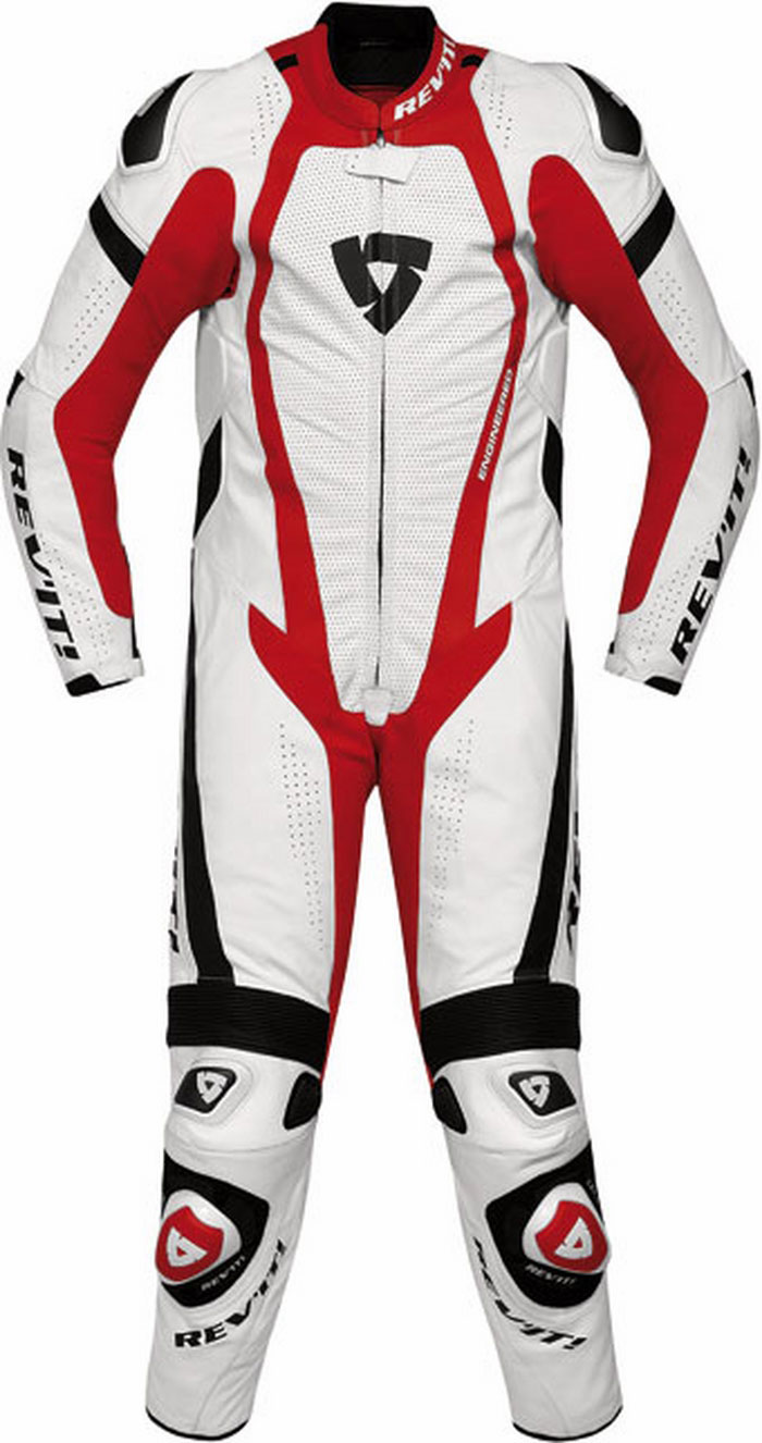 Rev'it Stingray leather racing suit white-red