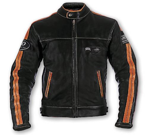 Giubbotto custom in pelle A-Pro Silverstone nero-arancione