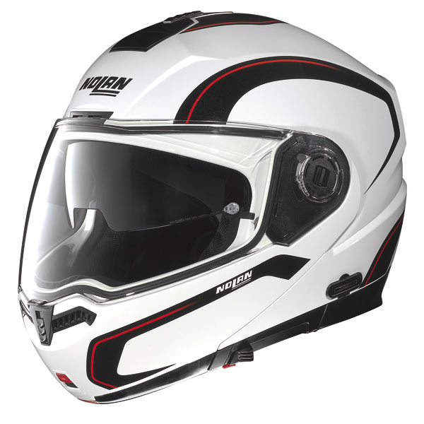 Nolan N104 Action N-Com open-face helmet white-black-red