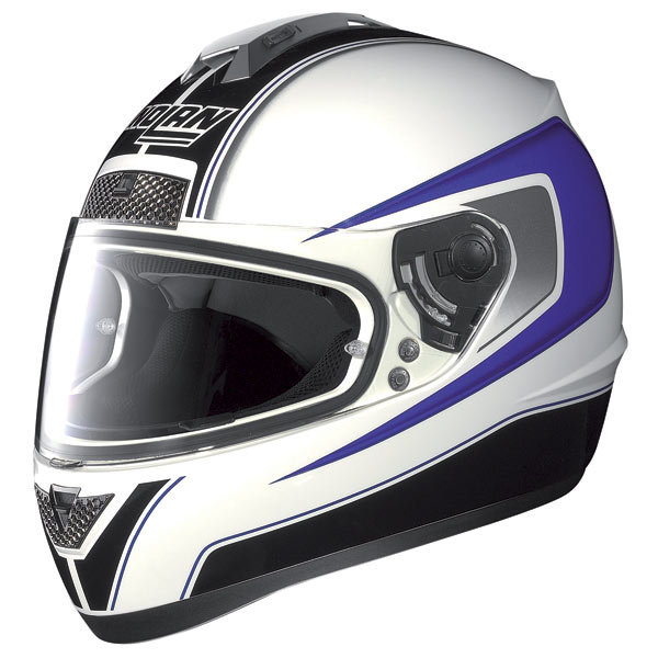 Casco moto Nolan N63 Outrun bianco-blu