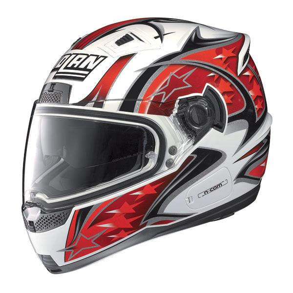 Casco moto Nolan N85 Fight N-com bianco-rosso