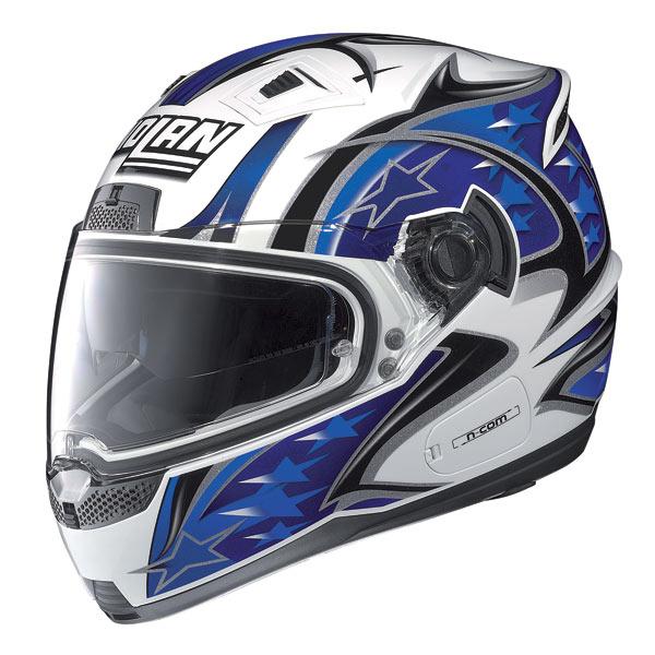 Casco moto Nolan N85 Fight N-com bianco-blu