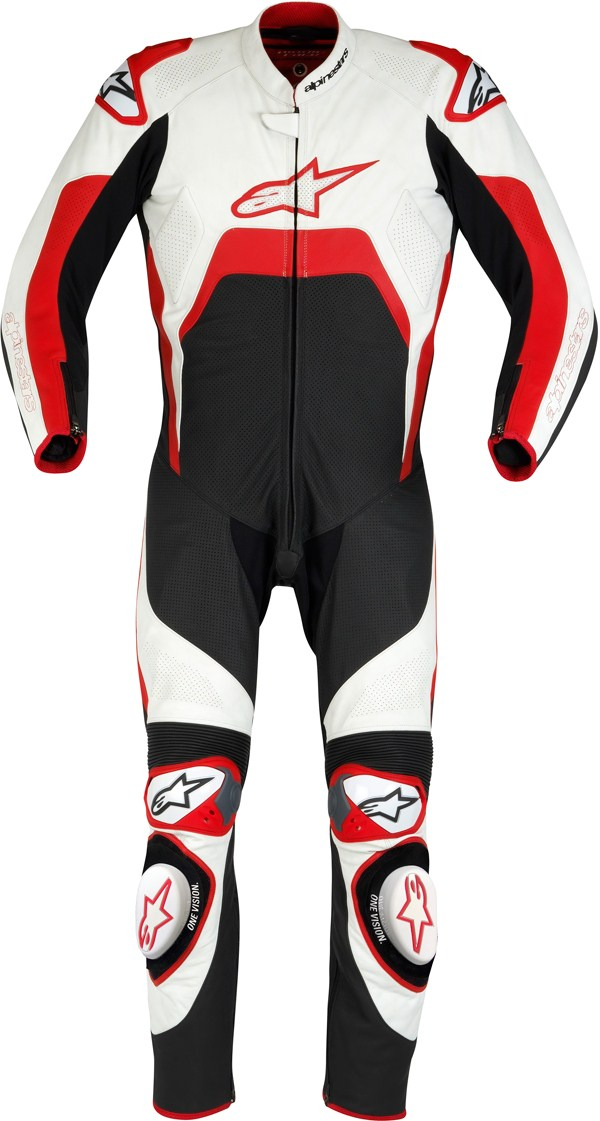 Tuta moto intera Alpinestars Tech 1-R nero-bianco-rossa