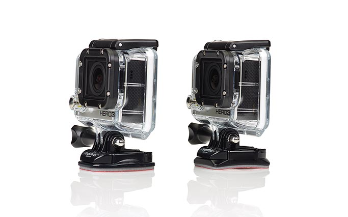 Adhesive supports flat and curved for GoPro Hero camera