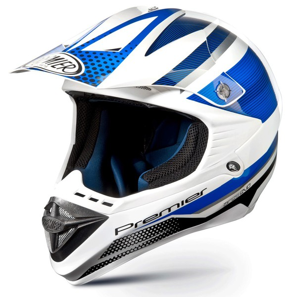 Casco moto cross Premier ARES EVO blu