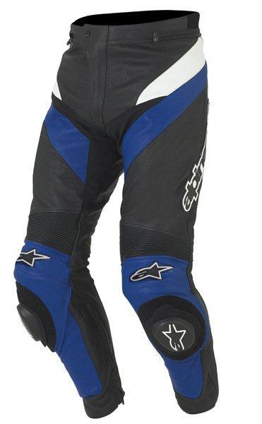 Pantaloni moto racing in pelle Alpinestars Apex nero-blu
