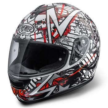 Full face helmet Premier Monza fiber white-red