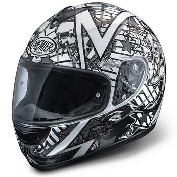 Full face helmet Premier Monza fiber white-gray