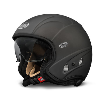 Casco moto jet Premier FREE EVO nero opaco con visiera integrata