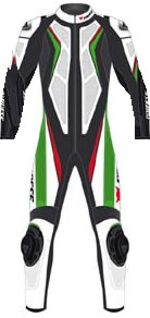 Dainese leather motorcycle suits entire Aspide Black Green White