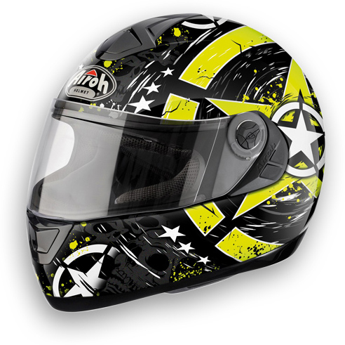 Motorcycle Helmet Airoh Aster-X Skull shiny yellow