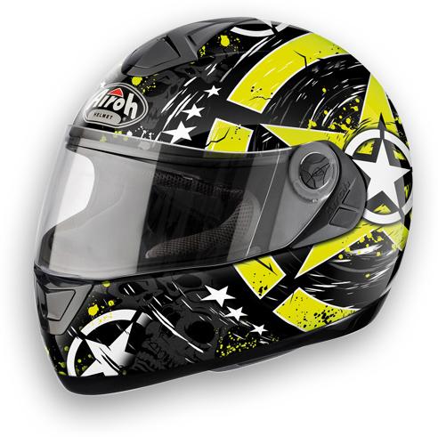 Casco moto Airoh Aster-X Skull giallo lucido