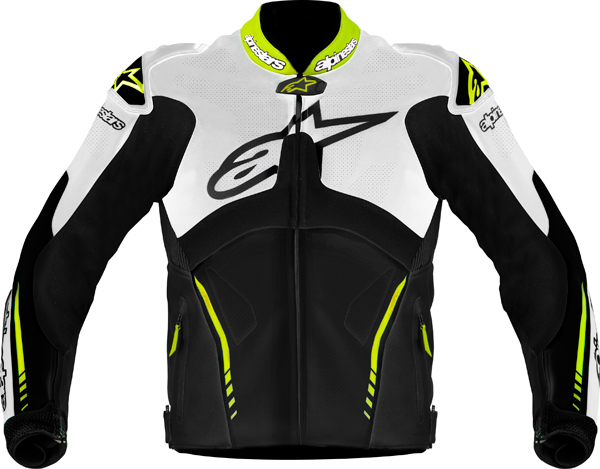 Alpinestars Atem leather jacket white-black-yellow fluo