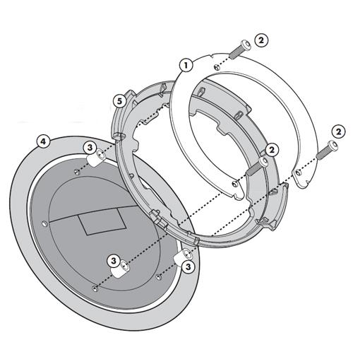 Flangia metallica BF02K per TankLock per Aprilia Shiver