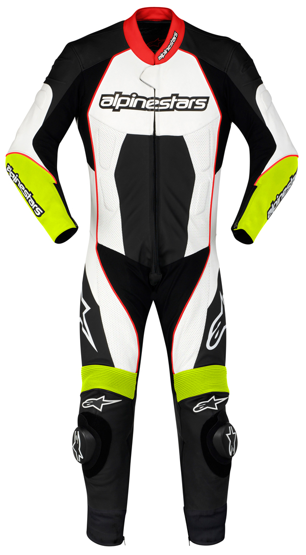 Alpinestars Carver leather suit black-white-yellow