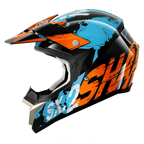 Casco cross Shark SX2 FREAK Nero arancio Blu