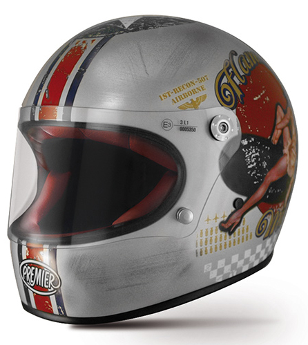 Casco integrale Premier Trophy Pin Up Old Style argento