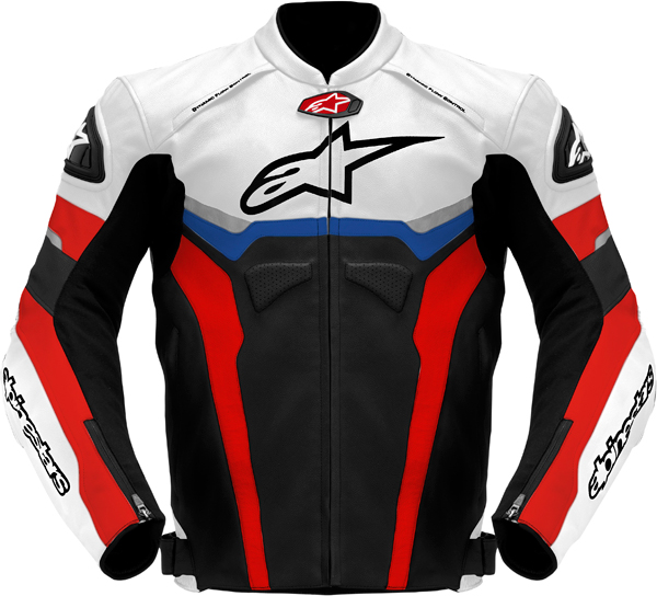 Giacca moto pelle Alpinestars Celer nero-bianco-rosso-blu