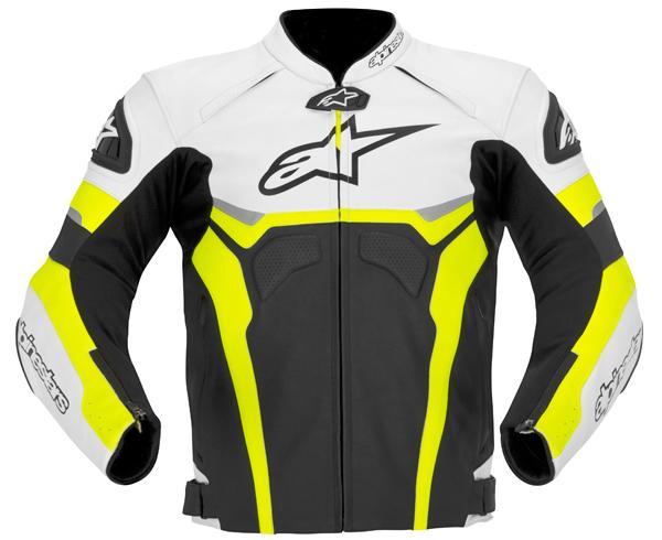 Giacca moto pelle Alpinestars Celer nero-bianco-giallo